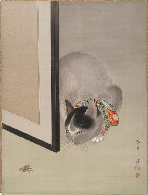 Companion Animal Psychology: Pets in Art. Cat watching spider by Oide Toko.