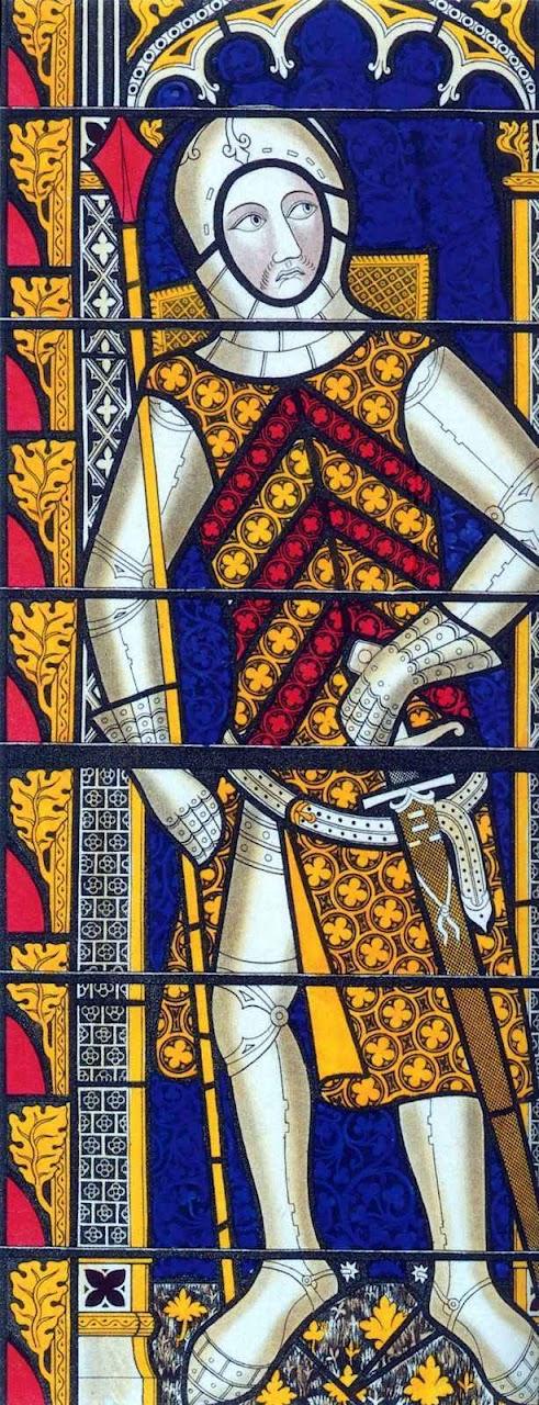 Gilbert de Clare, feito cavaleiro na véspera da batalha. Vitral em Tewkesbury Abbey, Gloucestershire, Inglatera.