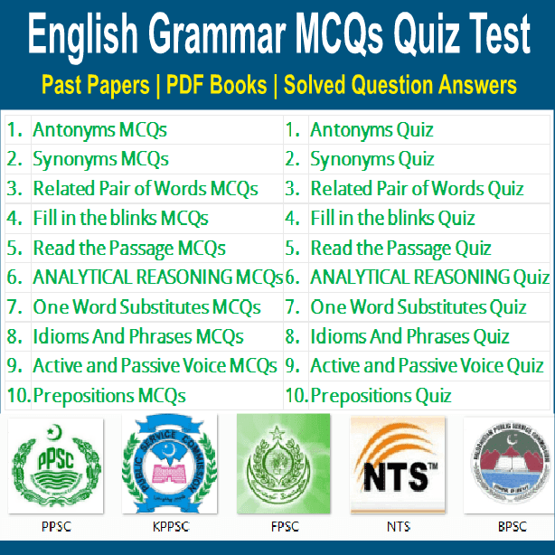English Grammar MCQs with answers for NTS
