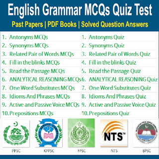 English Grammar Multiple Choice Objective Type Quiz MCQs Test Preparations