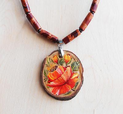 Pendant poppy jewelry red poppies jewelry wabi sabi