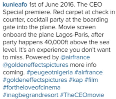 kunle afolayan movie premiere airfrance