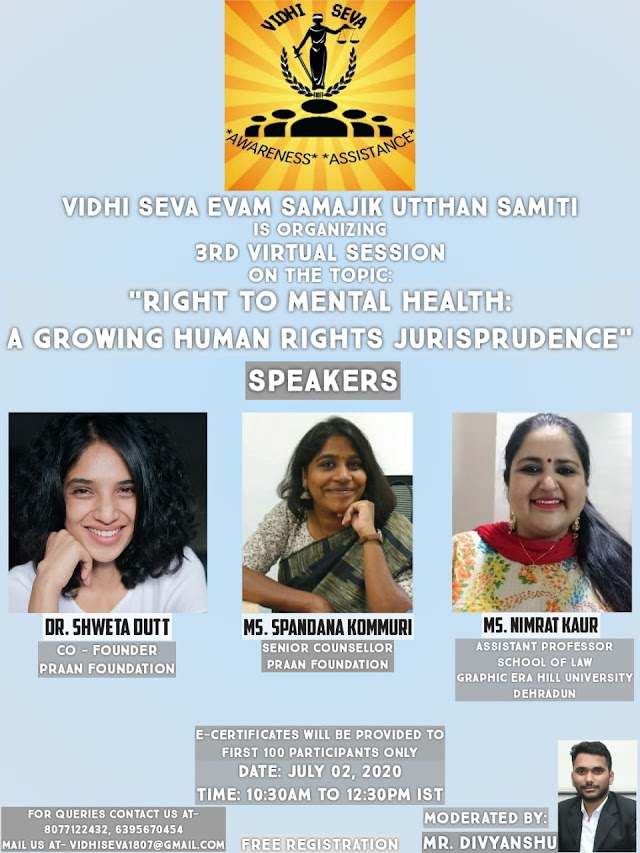[Online] session on Right to Mental Health: A Growing Human Rights Jurisprudence by Vidhi Seva Evam Samajik Utthan Samiti [Register Soon]