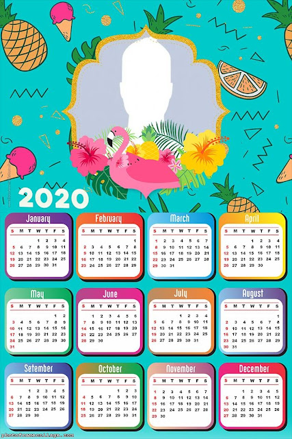 Flamingos: Free Printable 2020 Calendar