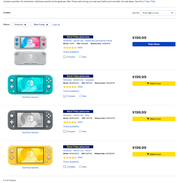 Best Buy Black Friday 2019 Nintendo Switch Lite full price not a deal