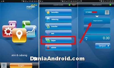 login dan menu pembayaran BPJS di mandiri mobile banking