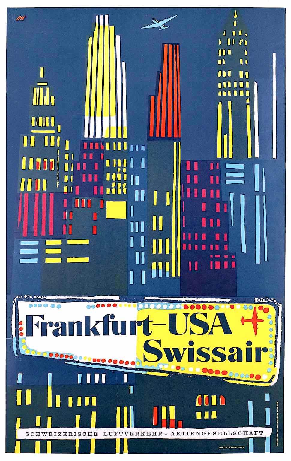 a Henri Ott 1951 poster for Swissair