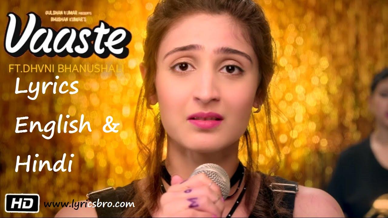 vaste-song-lyrics-in-english, Dhavni-Bhanushali