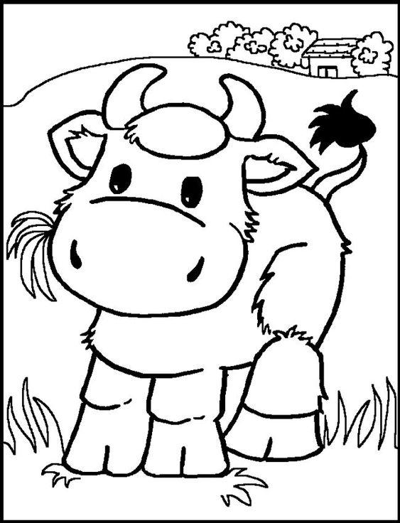 Hình tập tô màu con bò ăn cỏ