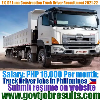 E-C DE LUNA Construction Truck Driver Recruitment 2021-22