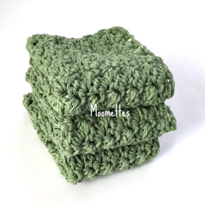 Handmade Sage Green Dish Cloths Cotton Wash Cloths