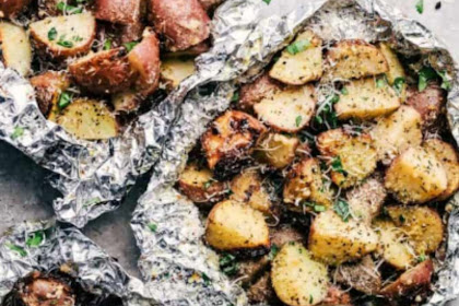 PARMESAN GARLIC POTATO FOIL PACKETS