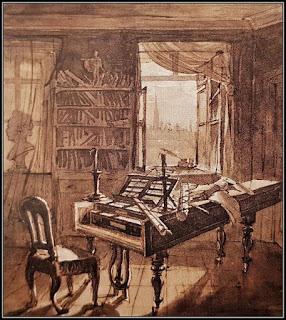 Σκίτσο όπου απεικονίζεται το πιάνο του Μπετόβεν στο σπίτι του στη Βιέννη