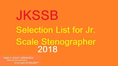 JKSSB Selection List for Jr. Scale Stenographer | Daily Govt updates.
