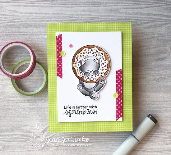 Cat and Donut Card by Jennifer Timko | Newton's Donut Stamp Set by Newton's Nook Designs #newtonsnook #handmade
