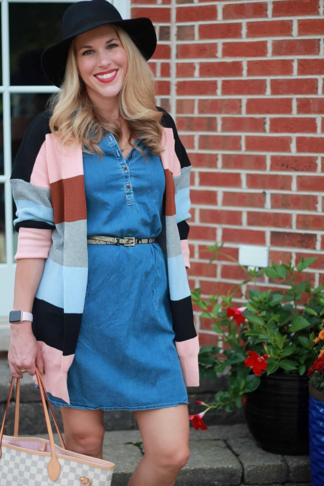 aventura tristan dress, cognac slouch boots, plaid flannel button up, reversible vest, navy turtleneck, color block cardigan, taupe booties