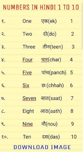 1 To 10  Numbers In Hindi