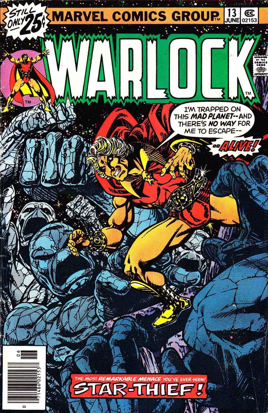 Warlock v1 #13 marvel 1970s bronze age comic book cover art by Jim Starlin