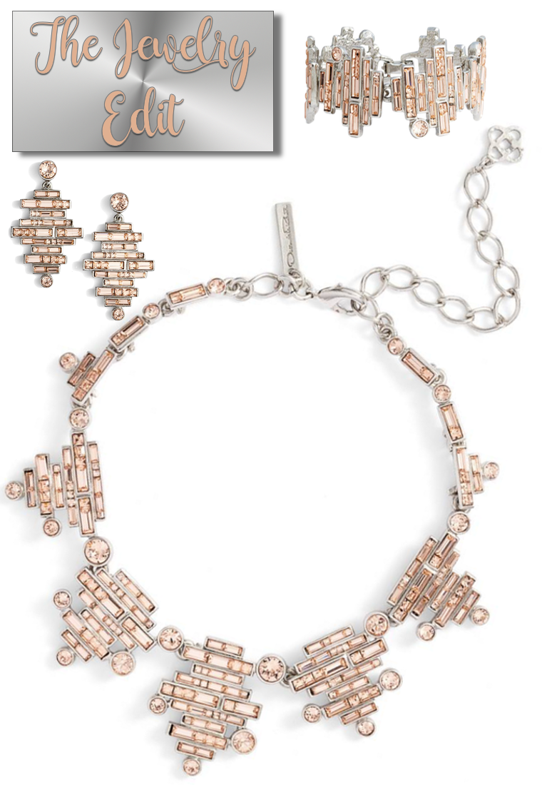 Oscar de la Renta Stacked Baguette Crystal Necklace
