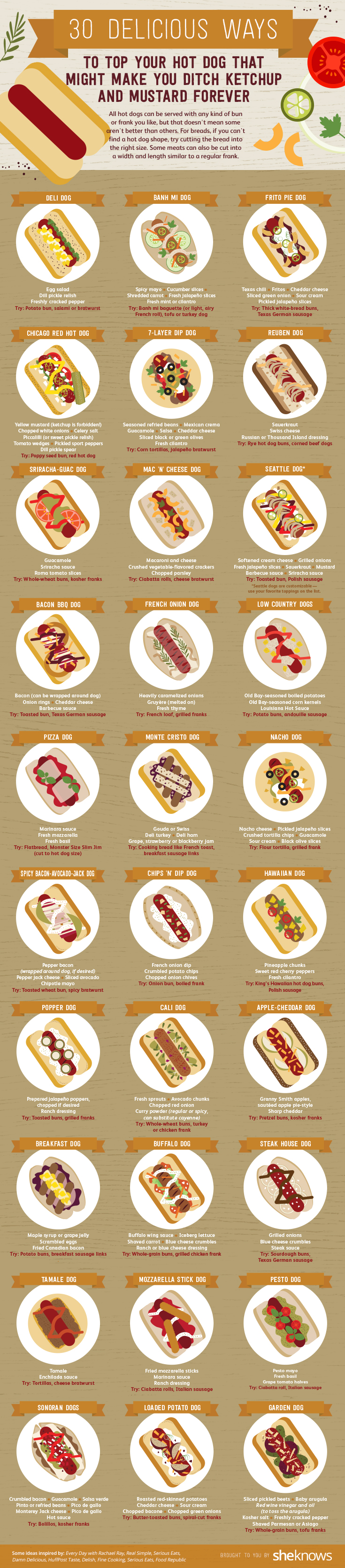 30 Creative Hot Dog Toppings for a Next-Level Cookout #infographic