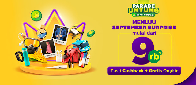#Tokopedia - #Promo Cachback & Gratis Ongkir Hingga 15K di September Surprise (s.d 06 Sept 2019)