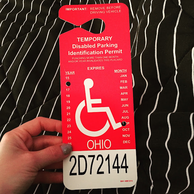 Beautifying the Broken Ankle, my broken ankle journey, breaking your ankle, handicapped parking permit
