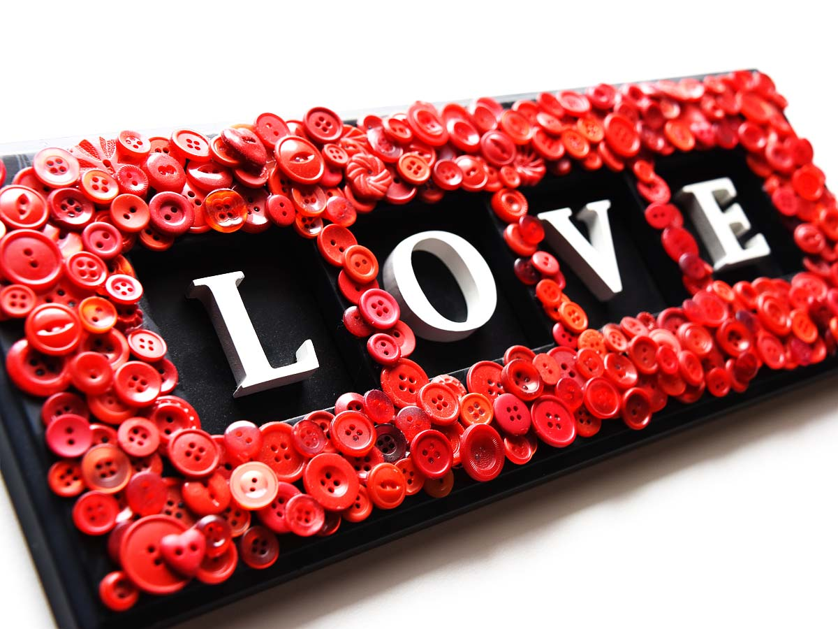 Red Button repurposed Love Sign by Jeanne Selep