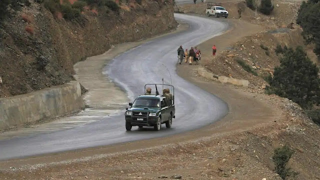 Pakistani soldiers driving in the restive South Waziristan region near the Afghan border