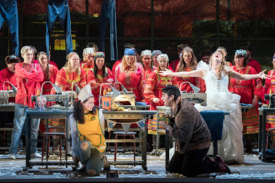 Rimsky Korsakov - The Snow Maiden - Opera North - Aoife Miskelly, Phillip Rhodes, Elin Pritchard, chorus of Opera North - photo Richard Hubert Smith