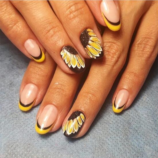 дизайн ногтей подсолнухи фото самые