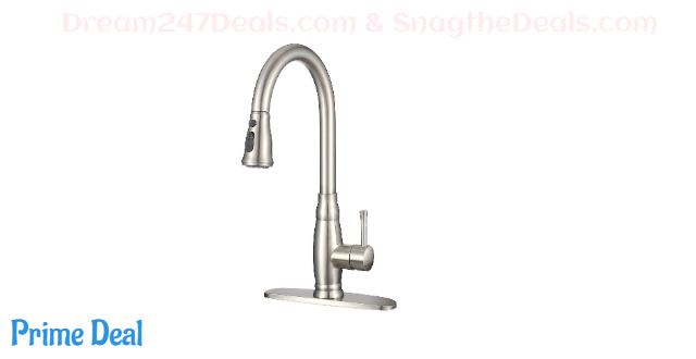 50% OFF Stainless Steel Kitchen Sink Faucet with Pull Down Sprayer