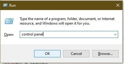 طرق فتح لوحة التحكم في Windows 10 Run