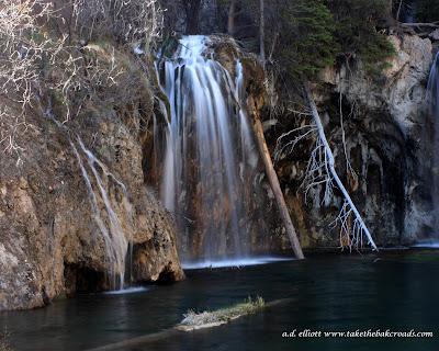 A long exposure photograph of Hanging Lake and a blurb about a king giving up his throne for love.