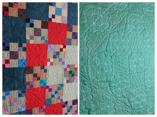 wo collaged photos show finished point-to-point FMQ from the front and back of the quilt.