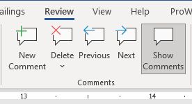 Comments in MS Word