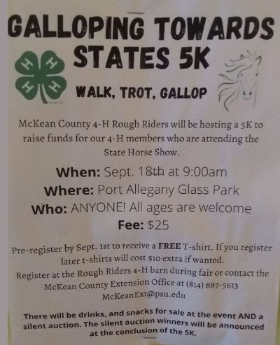 9-18 5K  Benefits 4-H Rough Riders for States