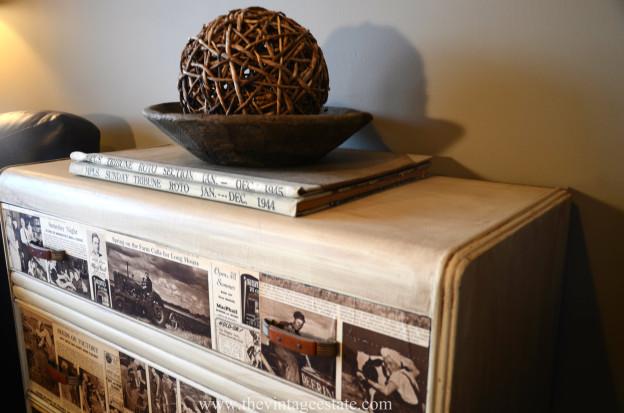 Vintage Newspaper Dresser from The Vintage Estate