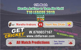 T10 League 2019 Abu Dhabi vs Maratha 11th T10 League 2019 Match Prediction Today Reports
