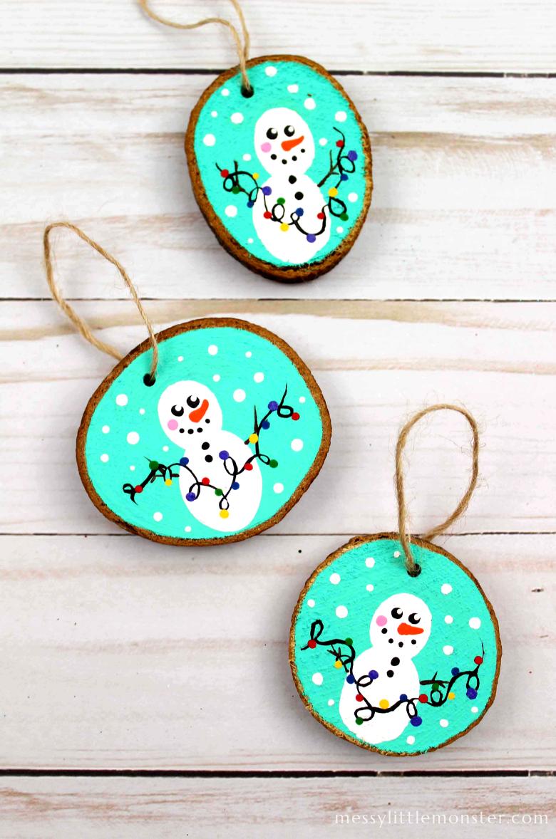 fingerprint snowman wood slice Christmas ornaments