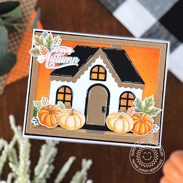 Sunny Studio Stamps: Crisp Autumn Gingerbread House Dies Frilly Frame Dies Slimline Dies Autumn Themed House Card by Mayra Duran-Hernandez