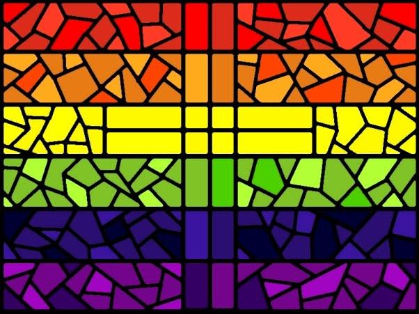 Progress Flag  Rainbow Flag  LBGT Flag Stained Glass