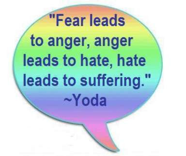 Fear leads to anger, anger leads to hate, hate leeds to suffering - Yoda