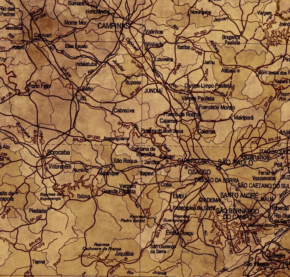 mapa sp retro envelhecido