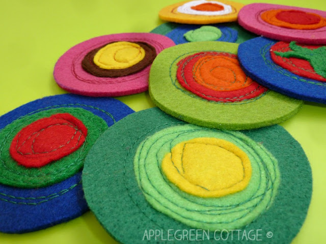 These easy felt coasters will be an eye-catcher at any party, and make a perfect homemade gift! A tutorial with step-by-step directions here.