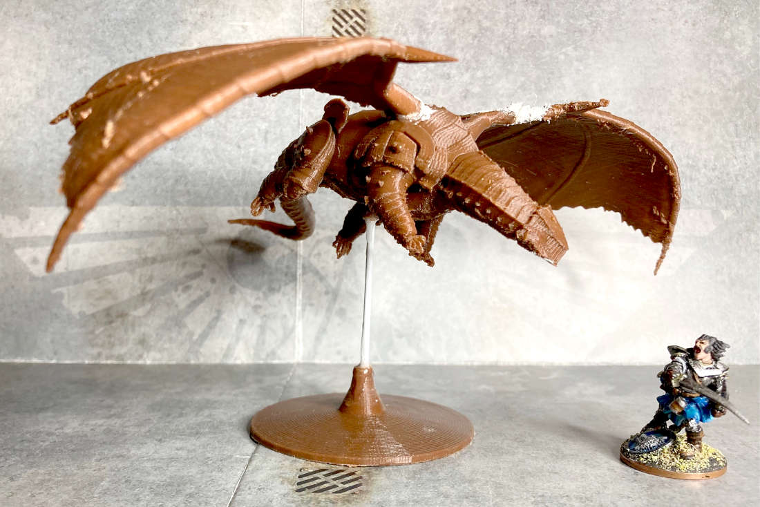 A Chardalyn dragon in Poo brown PLA