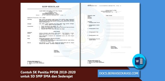Contoh SK Panitia PPDB 2019-2020 untuk SD SMP SMA dan Sederajat
