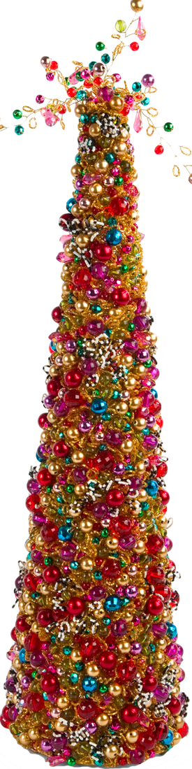 "MACKENZIE-CHILDS BIJOU BEADED TABLETOP 22"" CHRISTMAS TREE"
