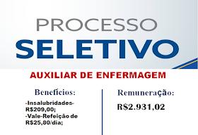 Aberto Processo Seletivo para Auxiliar de Enfermagem. Salário de R$2.931,02