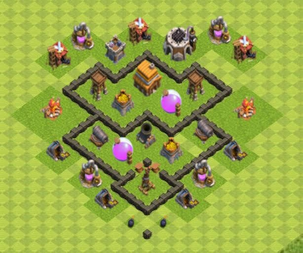 Base COC TH4 Farming 2