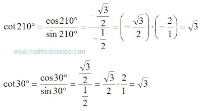 Cotangent 210 degrees. Cotangent 30 degrees. Mathematics For Blondes.